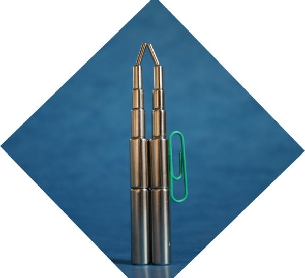 Magnet NdFeB N35H, d3.5 +-0,1 x 4 +-0,1 mm, axial magnetisiert, epoxy-beschichtet