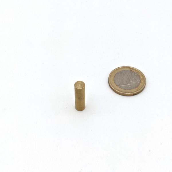 Stabgreifer mit Kern aus SmCo ø 6 x 20 mm, Passung h9 Ausführung Messing, Haftkraft 6 N ~ 0,6 kg